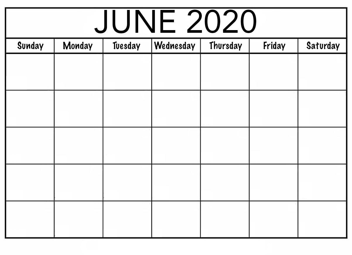 Blank June 2020 Calendar Editable