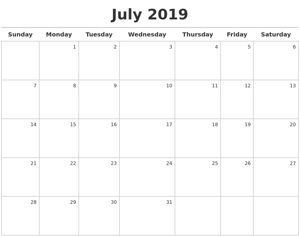 Calendar Template July 2019 - Free Printable Calendar, Templates and