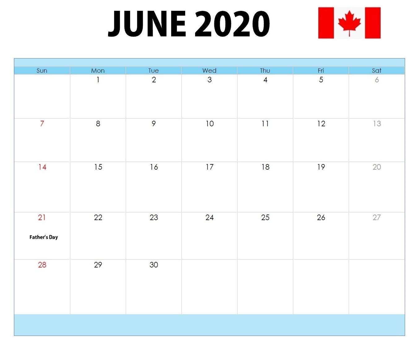 Canada Holidays Calendar June 2020