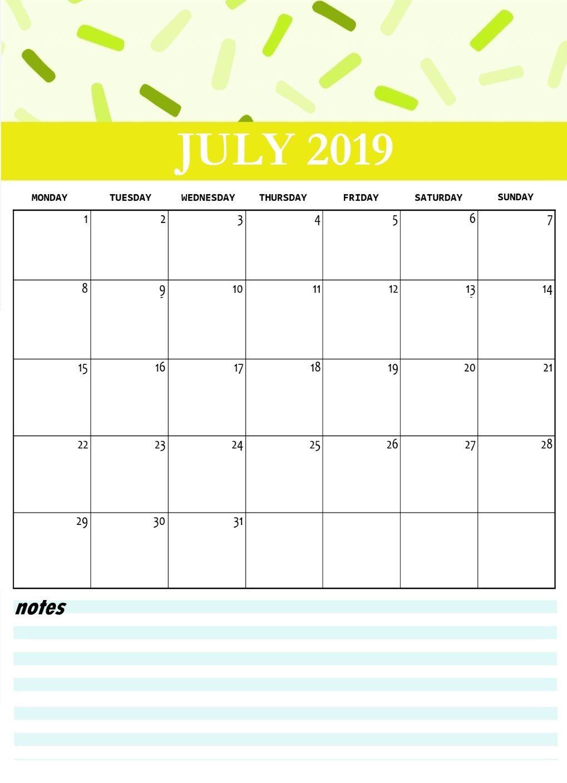 Cute July 2019 Calendar