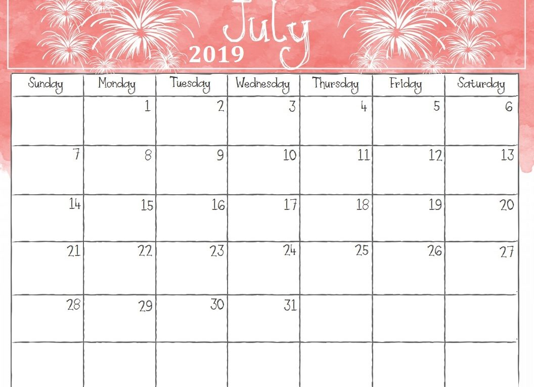 Cute July 2019 Printable Calendar