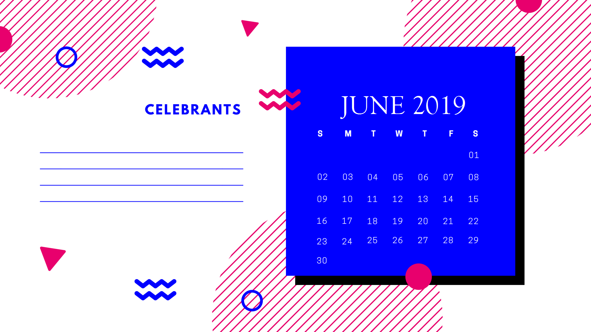Cute June 2019 Calendar Design