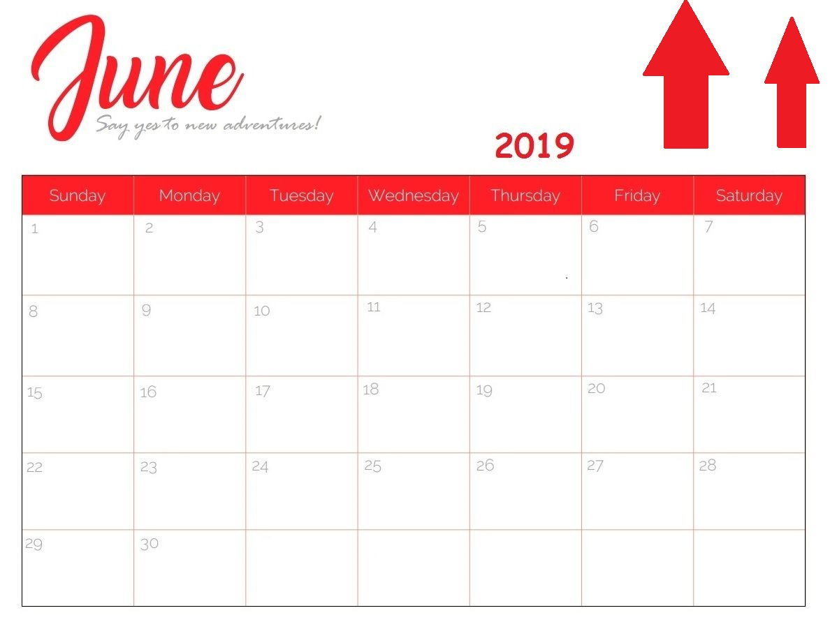 Cute June 2019 Calendar Printable