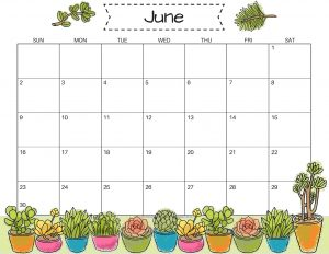 Cute June 2019 Calendar Template