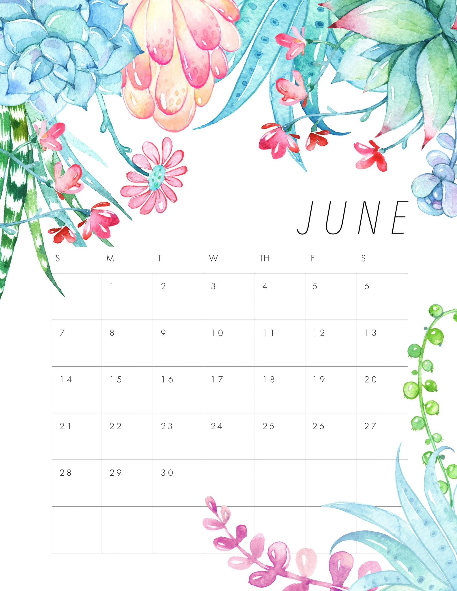 Cute June 2020 Desk Calendar