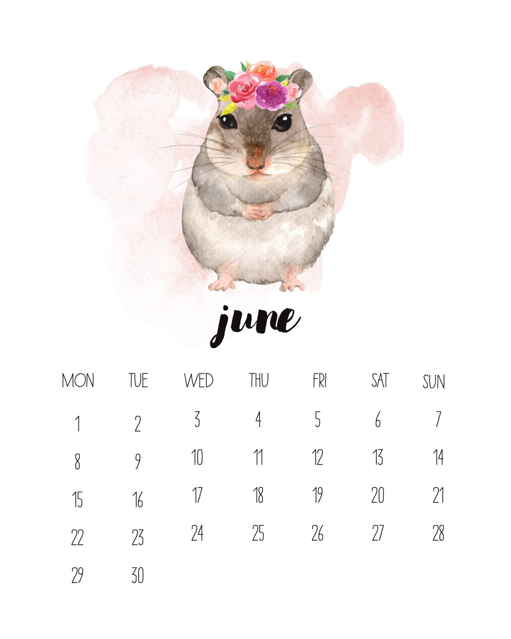Cute June 2020 Watercolor Calendar