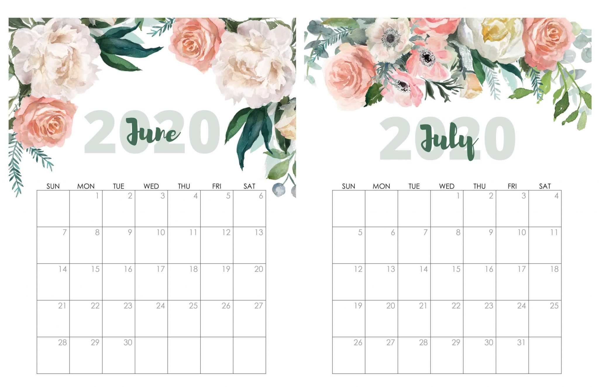 Cute June July 2020 Calendar