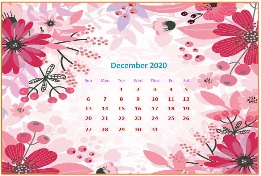 December 2020 Desktop Calendar Wallpapers