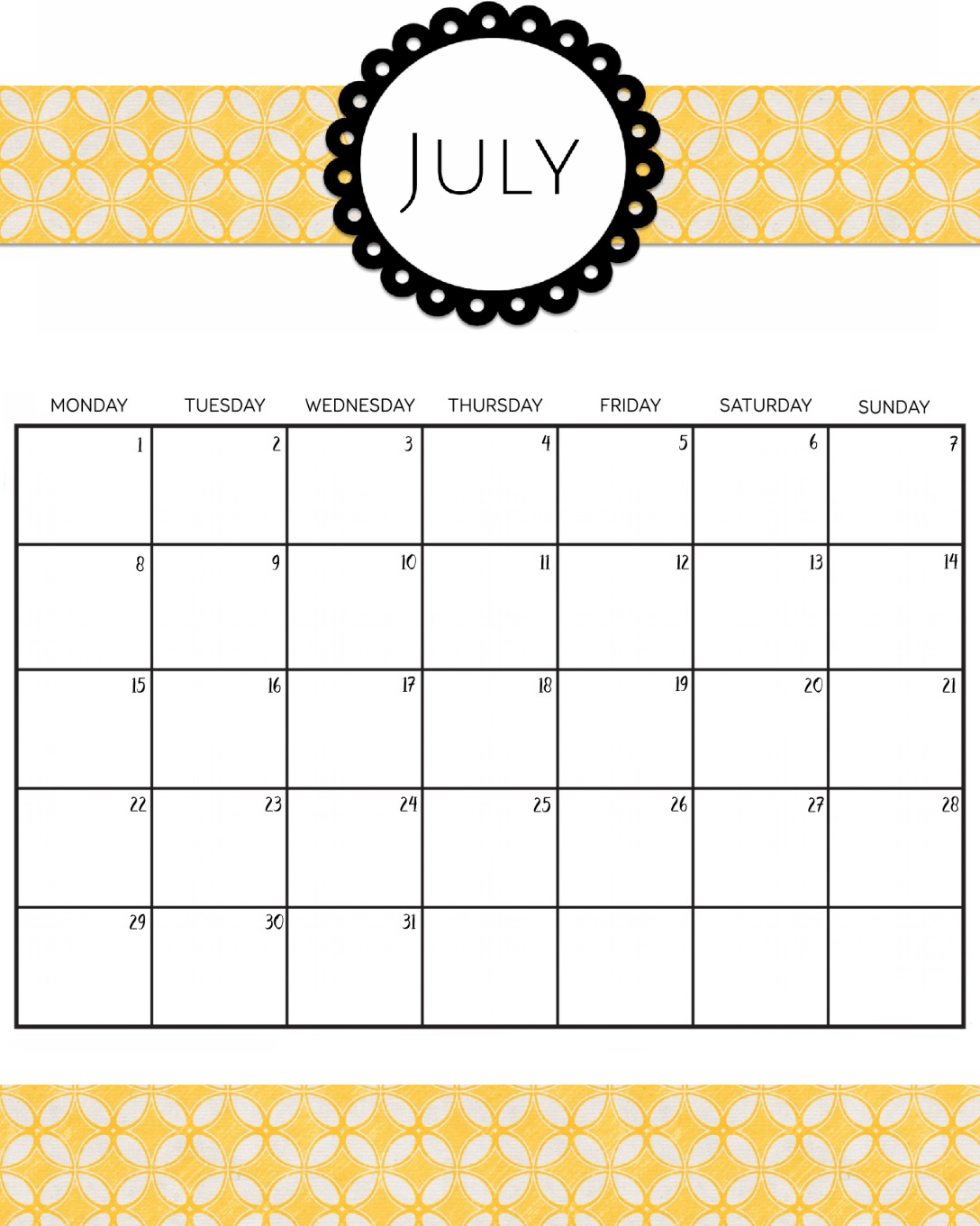 Decorative July 2019 Calendar Cute