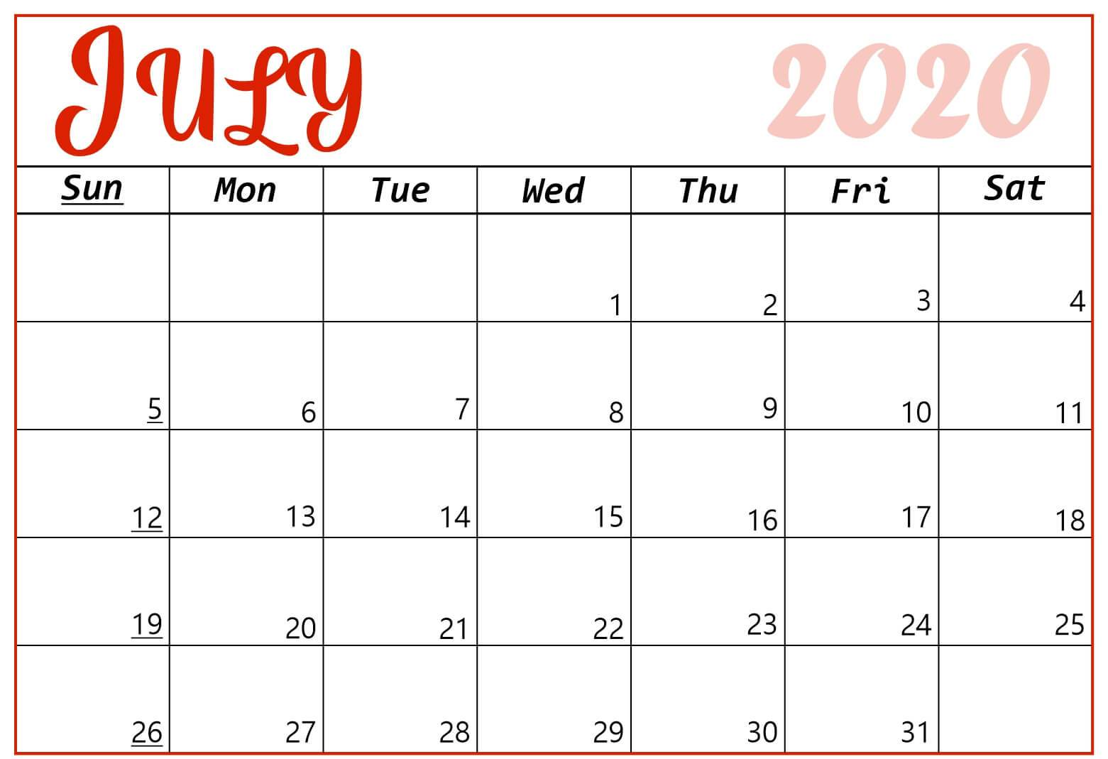 Decorative July 2020 Calendar Printable