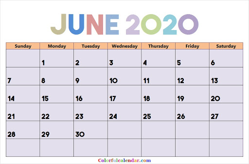 Decorative June 2020 Calendar Colorful Design