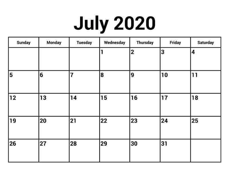 Editable Calendar For July 2020