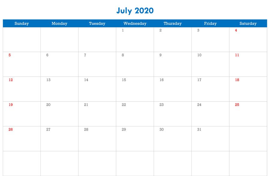 Editable Calendar Template July 2020