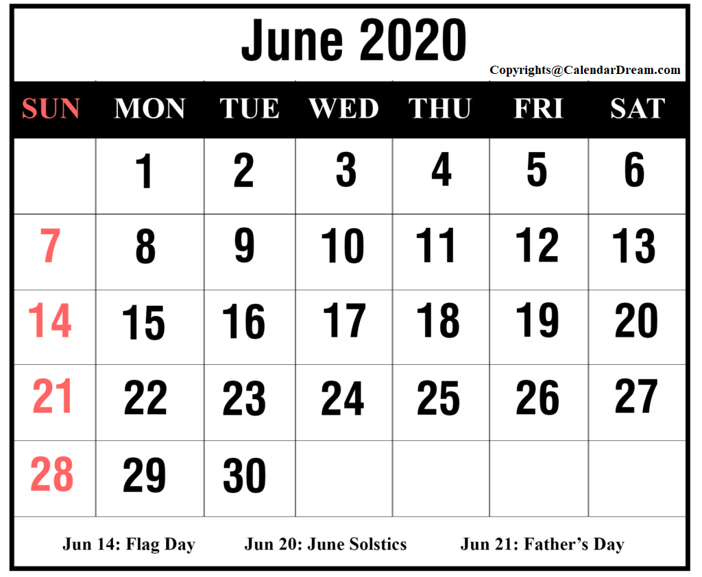 Editable Calendar Template June 2020