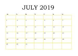 Editable July 2019 Blank Calendar