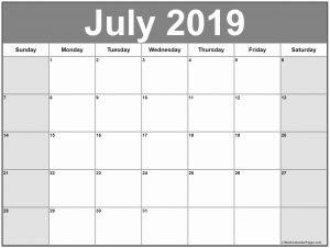 Editable July 2019 Calendar Template