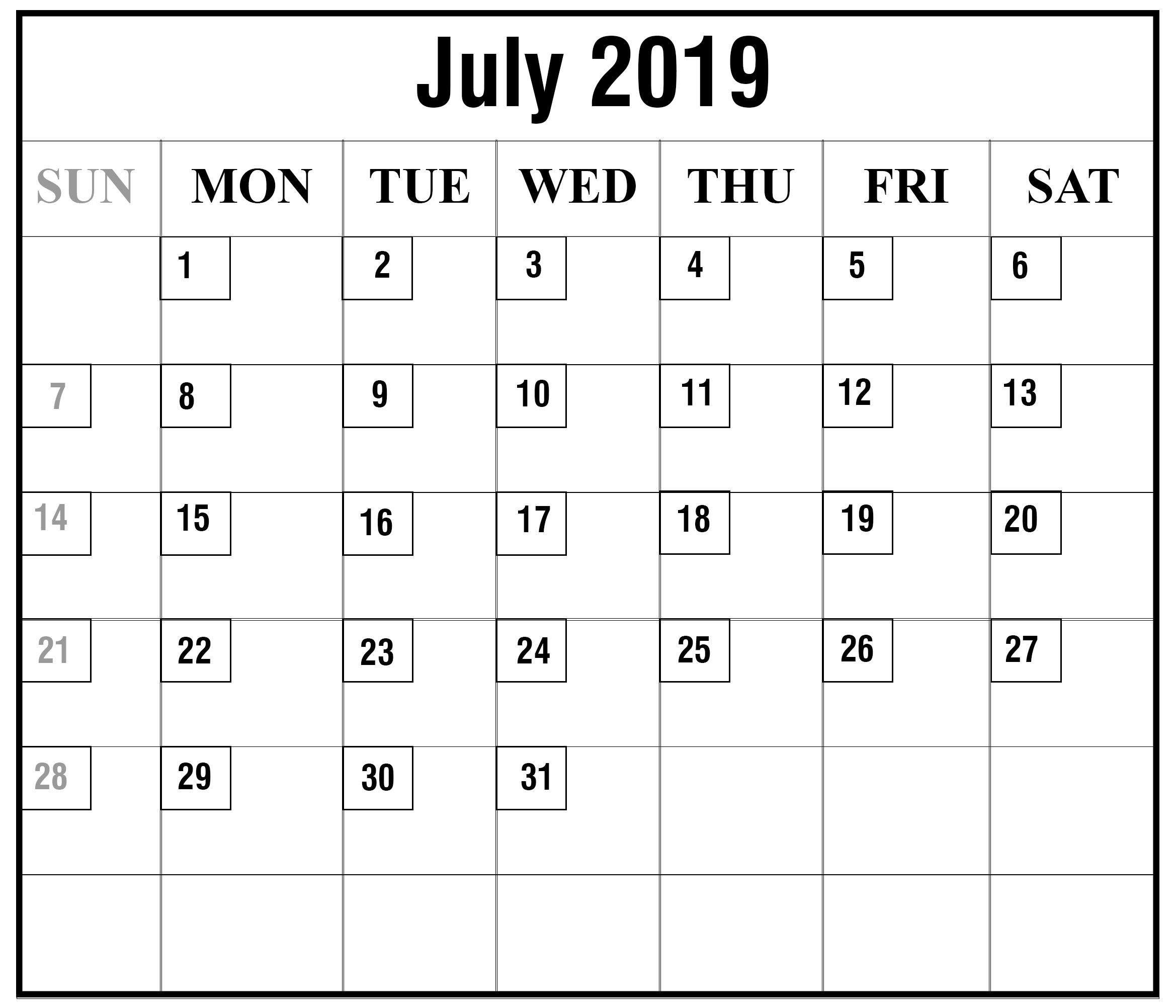 Editable July 2019 Calendar Template - Free Printable Calendar