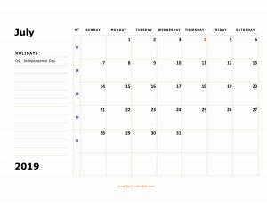 Editable July 2019 Calendar With Holidays