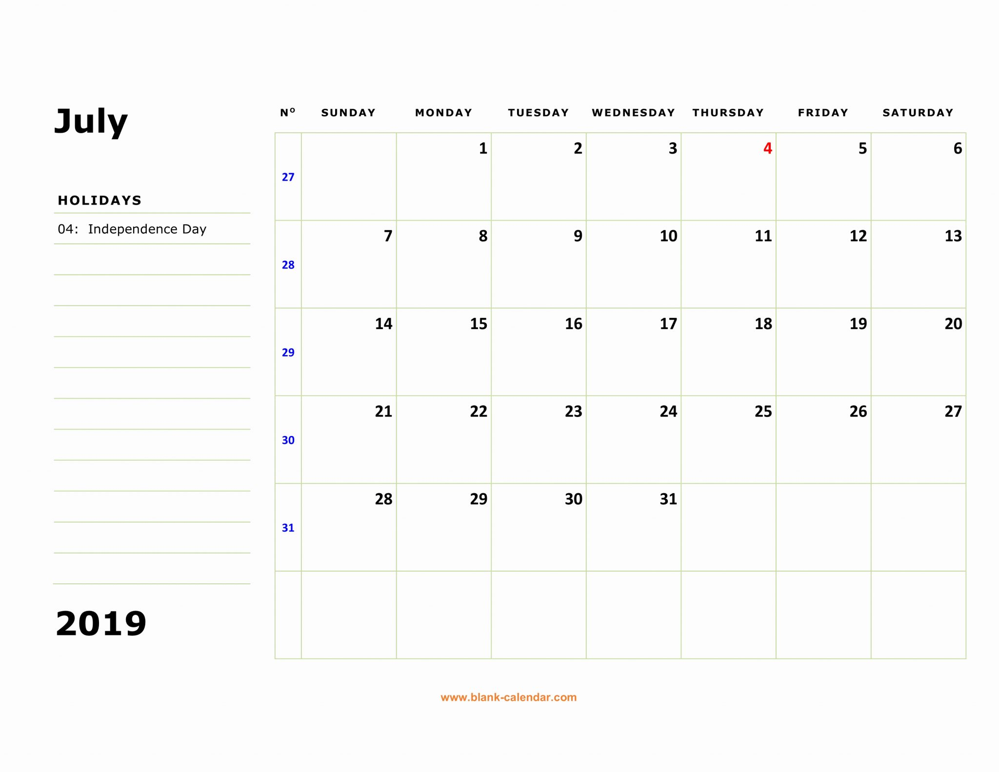 Editable July 2019 Calendar With Holidays