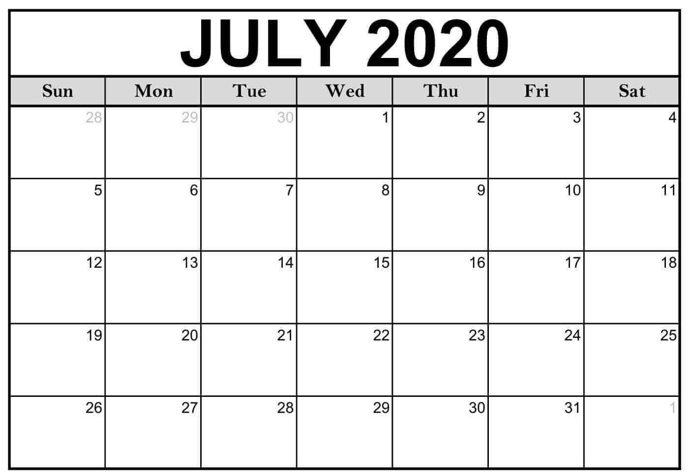 Editable July 2020 Calendar Excel