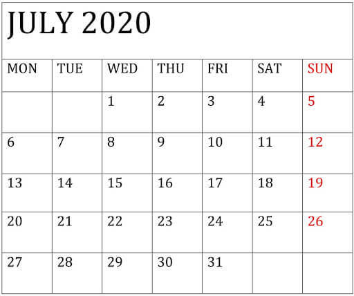 Editable July 2020 Calendar Word