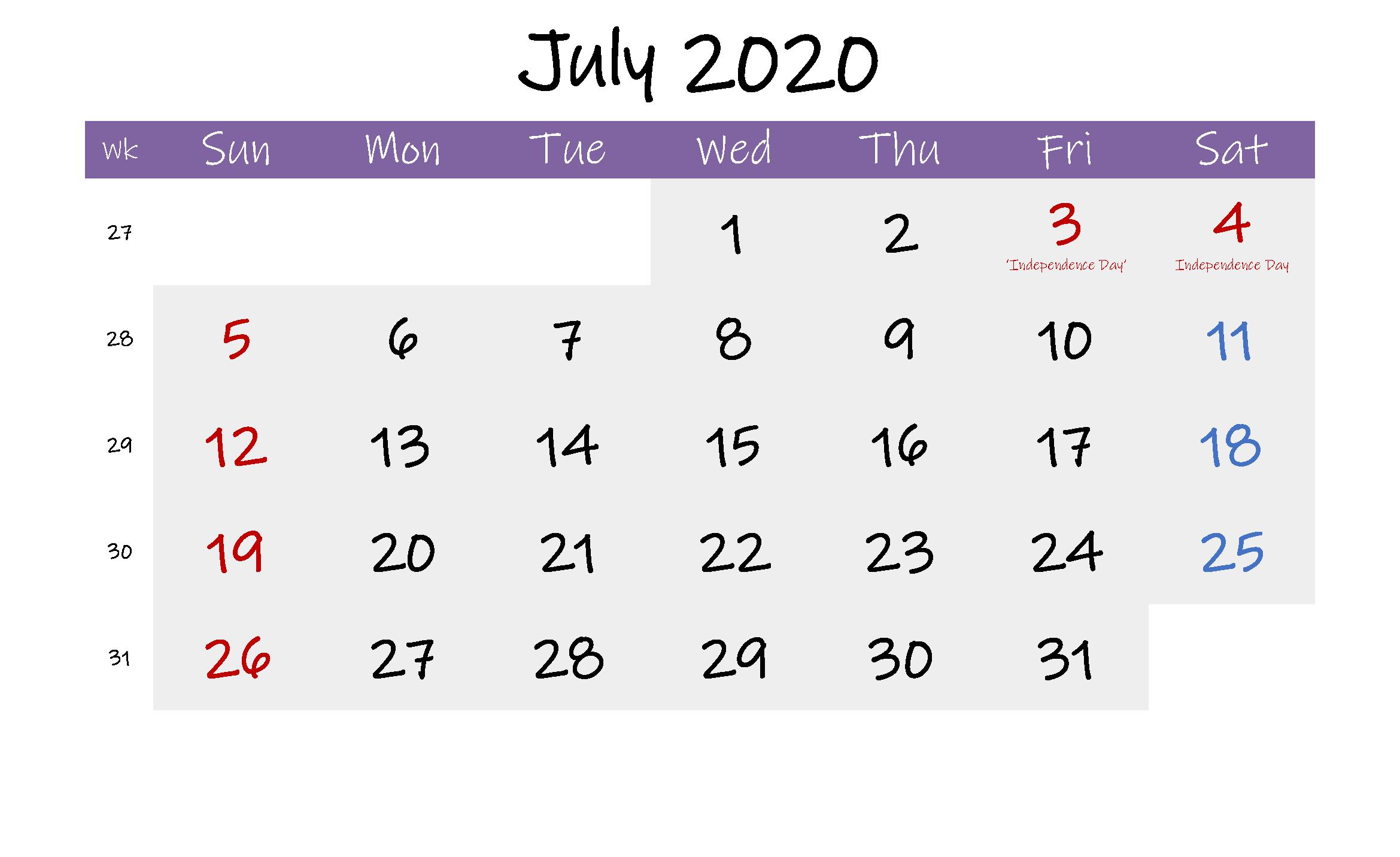 Editable July 2020 Calendar pdf