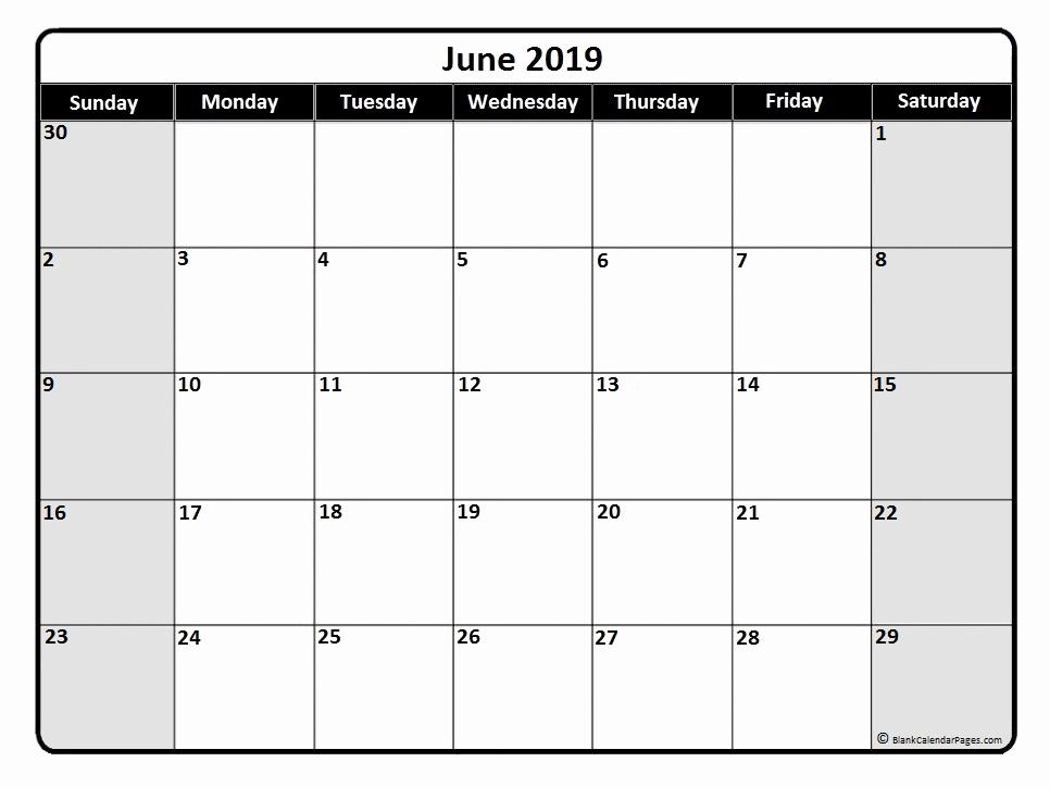Editable June 2019 Calendar Blank