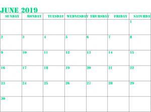 Editable June 2019 Calendar Printable