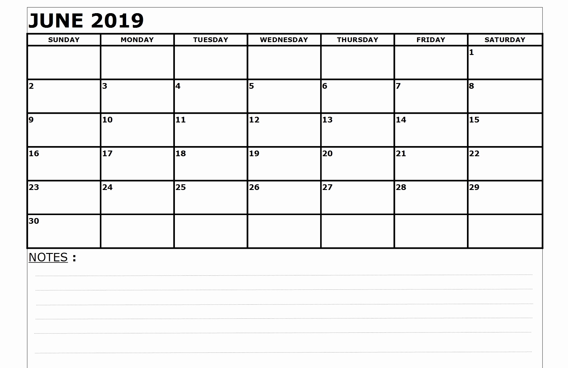 Editable June 2019 Calendar With Notes