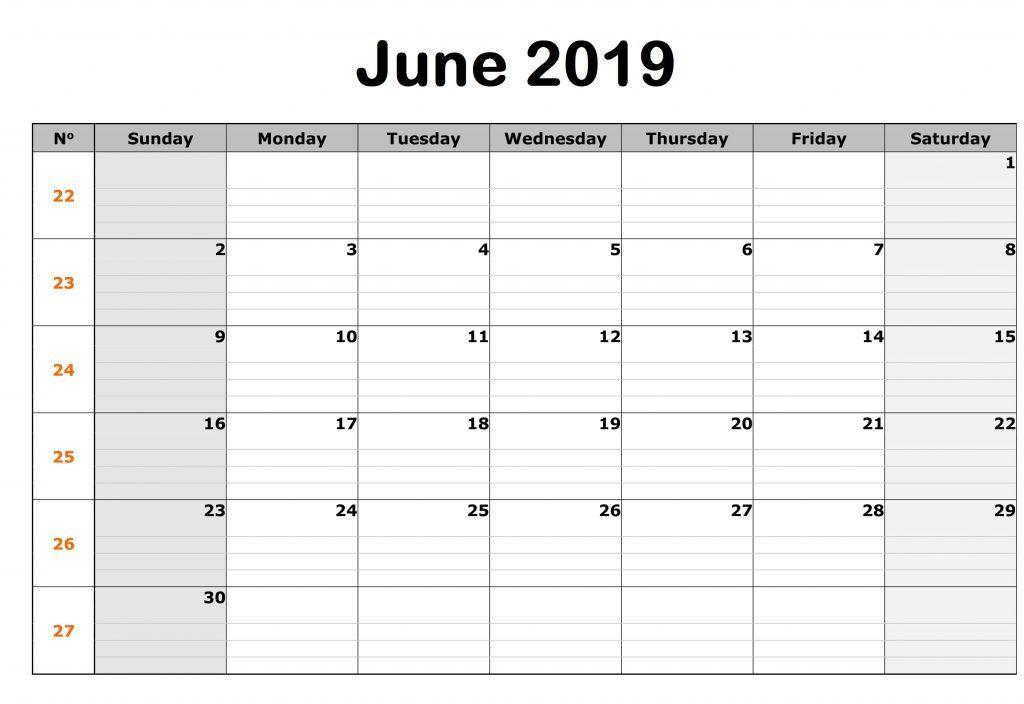 Editable June 2019 Calendar
