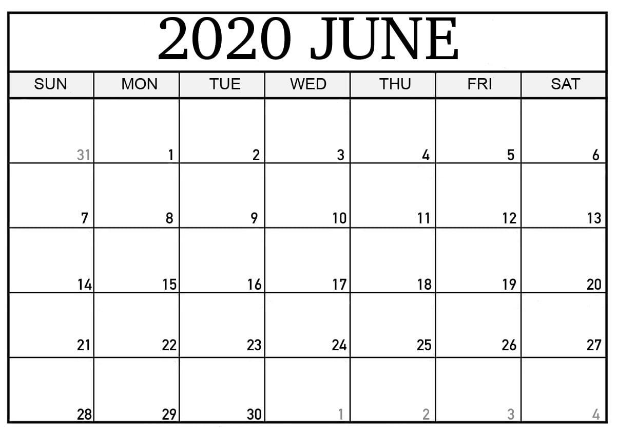 Editable June 2020 Calendar Excel