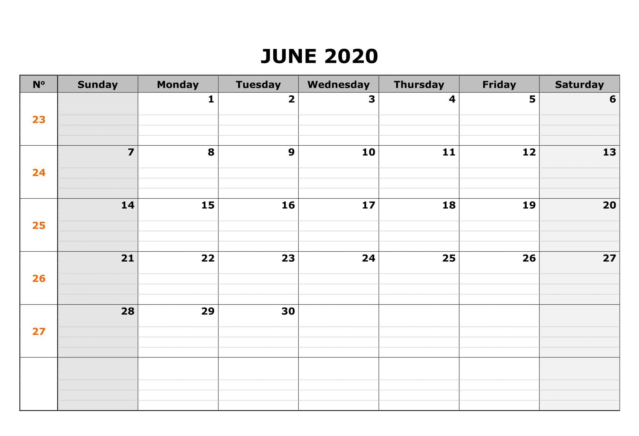 Editable June 2020 Calendar Word