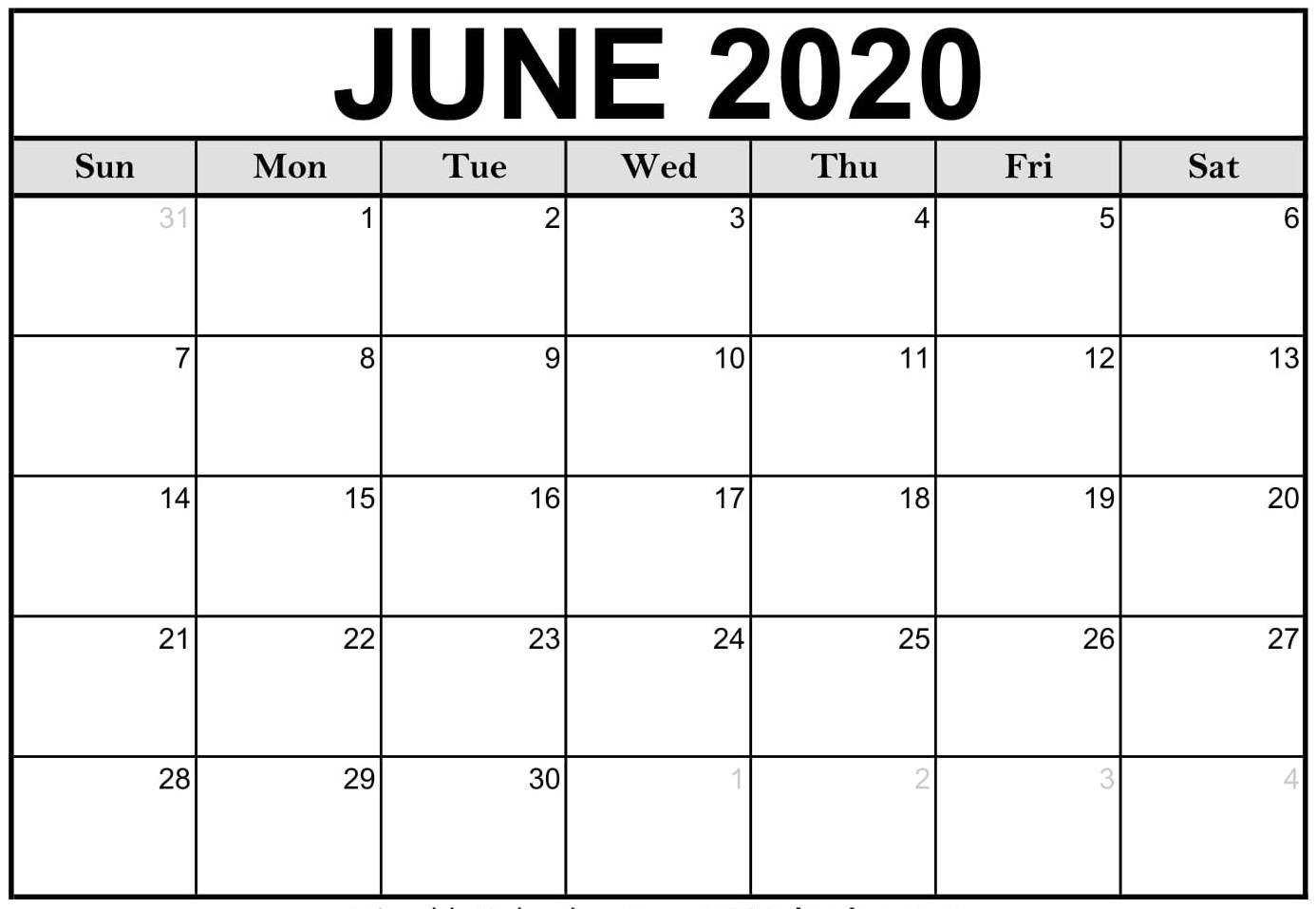 Editable June 2020 Calendar
