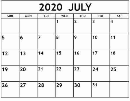 Free Printable Calendar July 2020