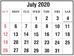Free Printable Editable July 2020 Calendar Page
