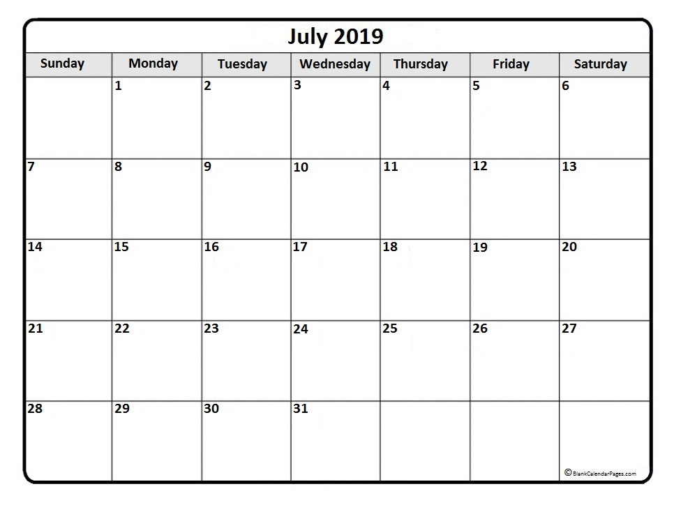 photo about Free Printable July Calendar referred to as Free of charge Printable July 2019 Calendar Template - Free of charge Printable