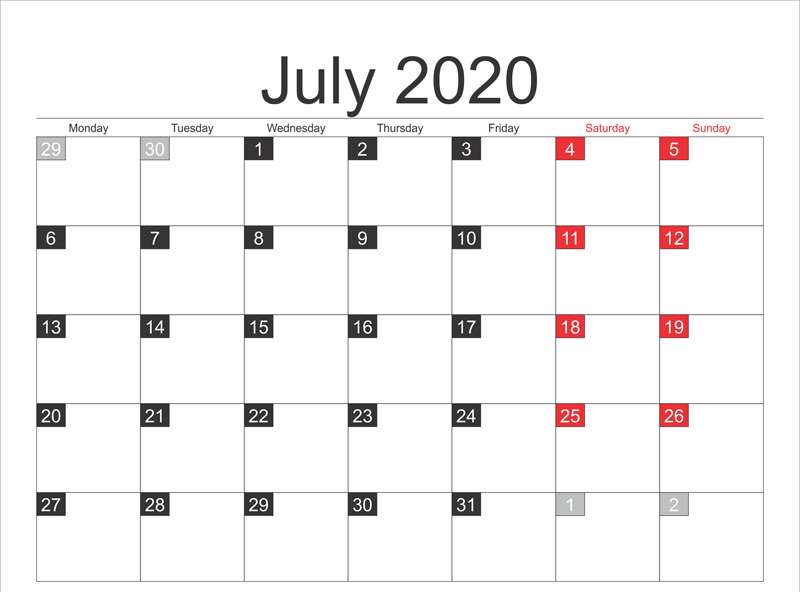 Free Printable July 2020 Calendar Template