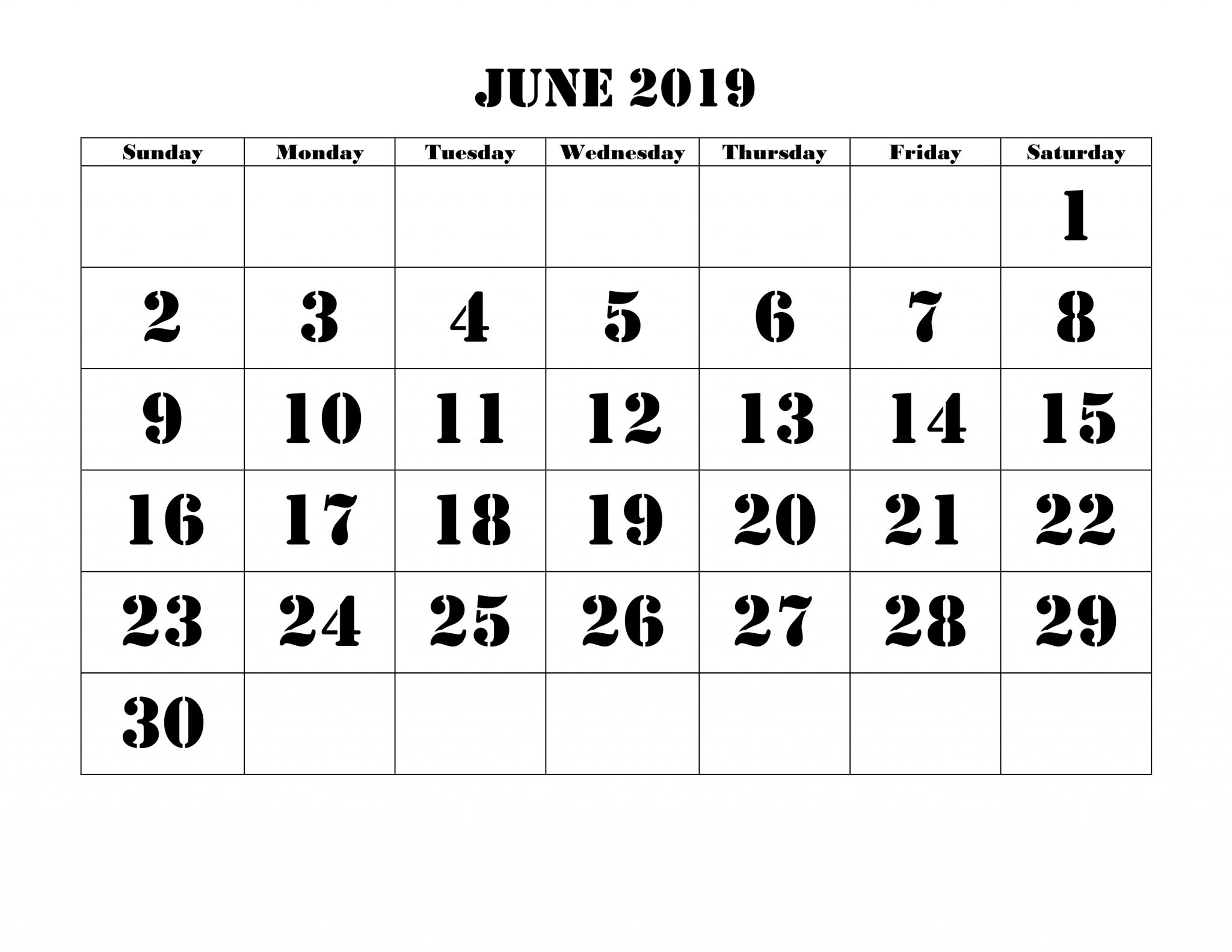 Free Printable June Cute Calendar 2019