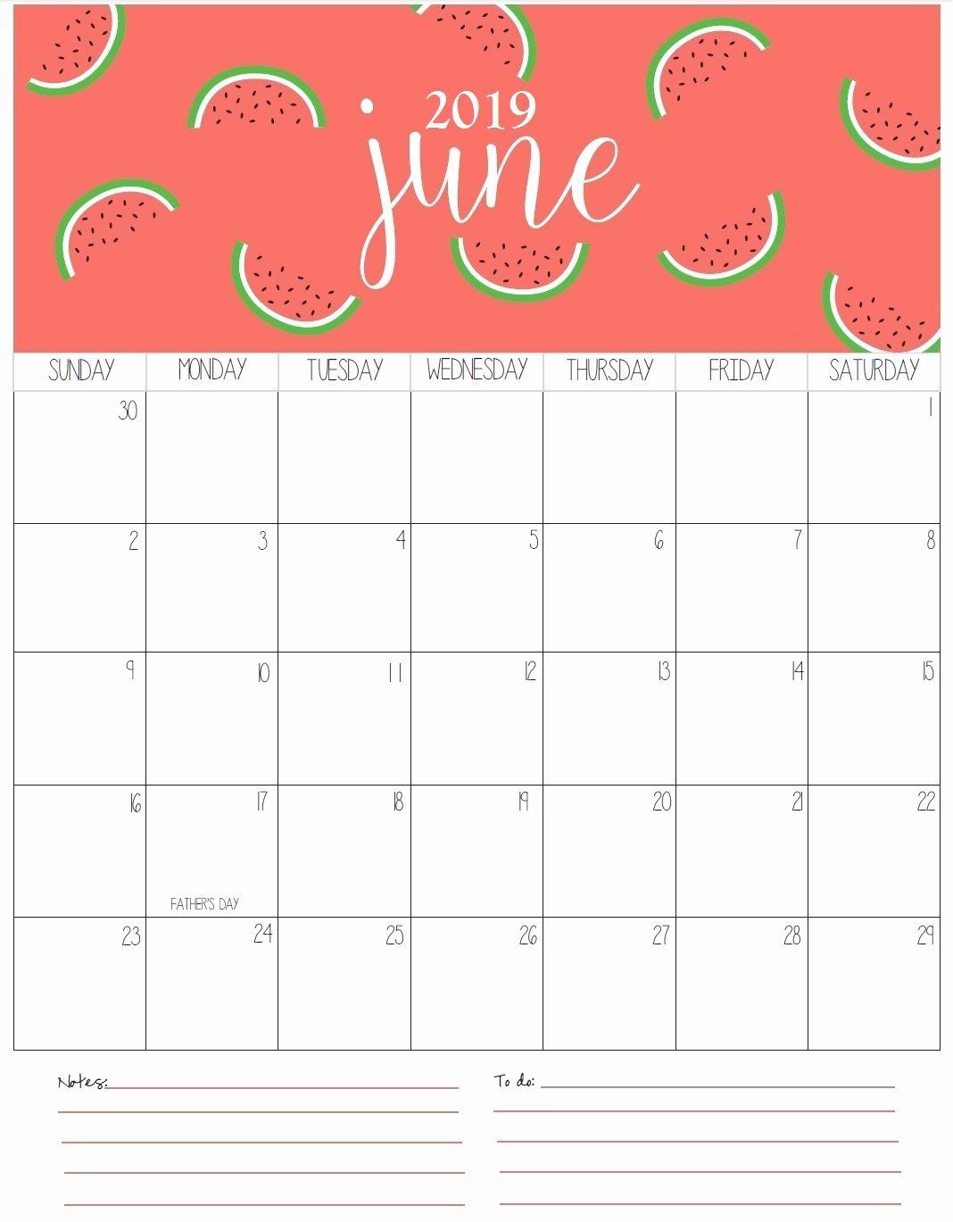 Holidays Calendar June 2019