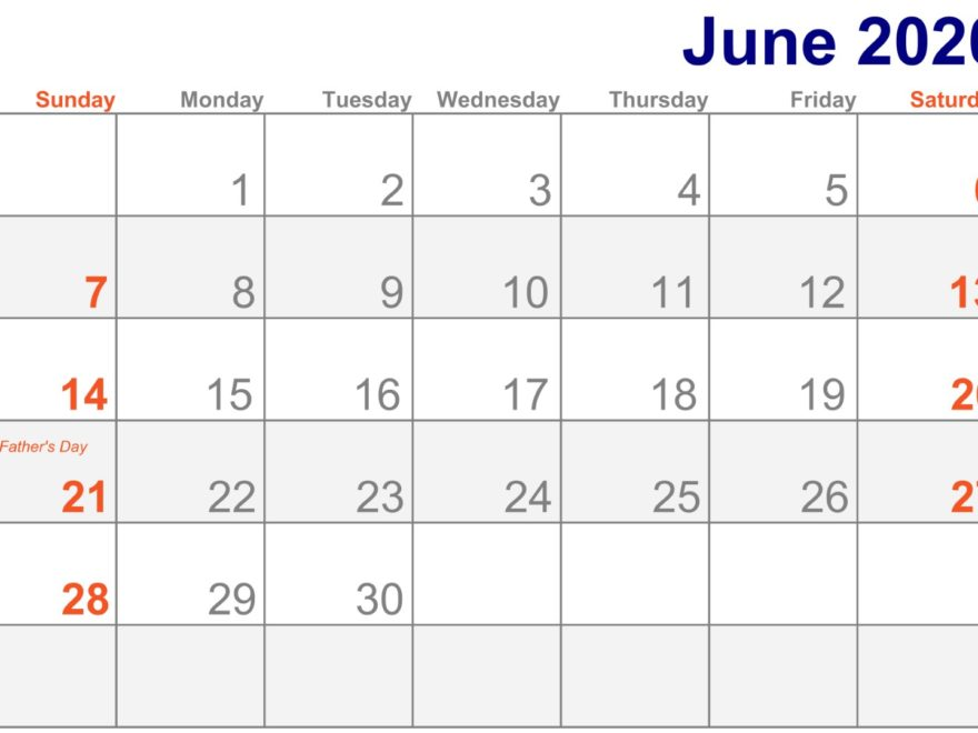 Holidays Calendar June 2020