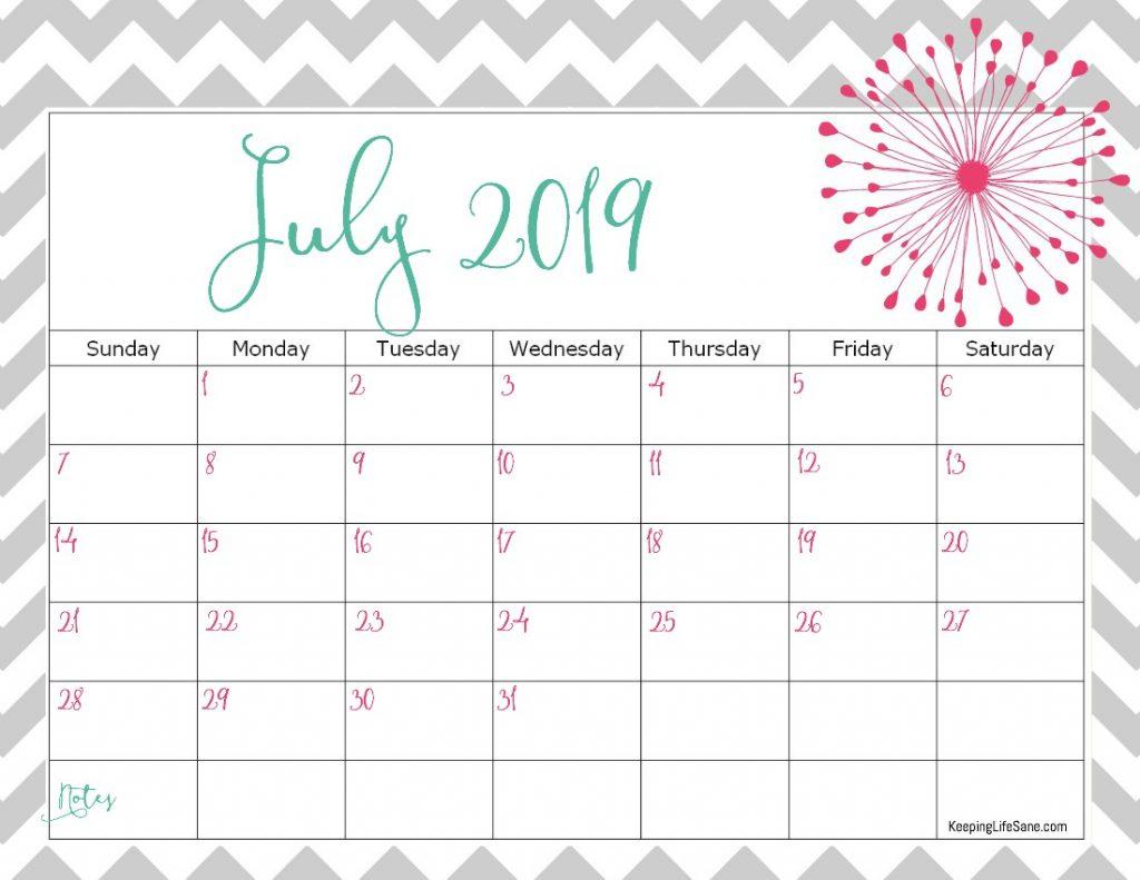 July 2019 Calendar Cute