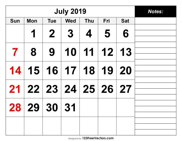 July 2019 Calendar Page