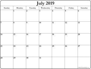 July 2019 Calendar Template PDF