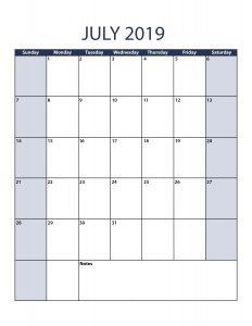 July 2019 Calendar Template Portrait