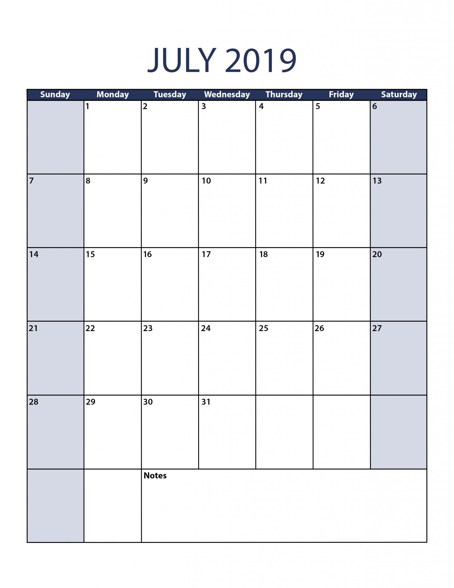July 2019 Calendar Template Portrait
