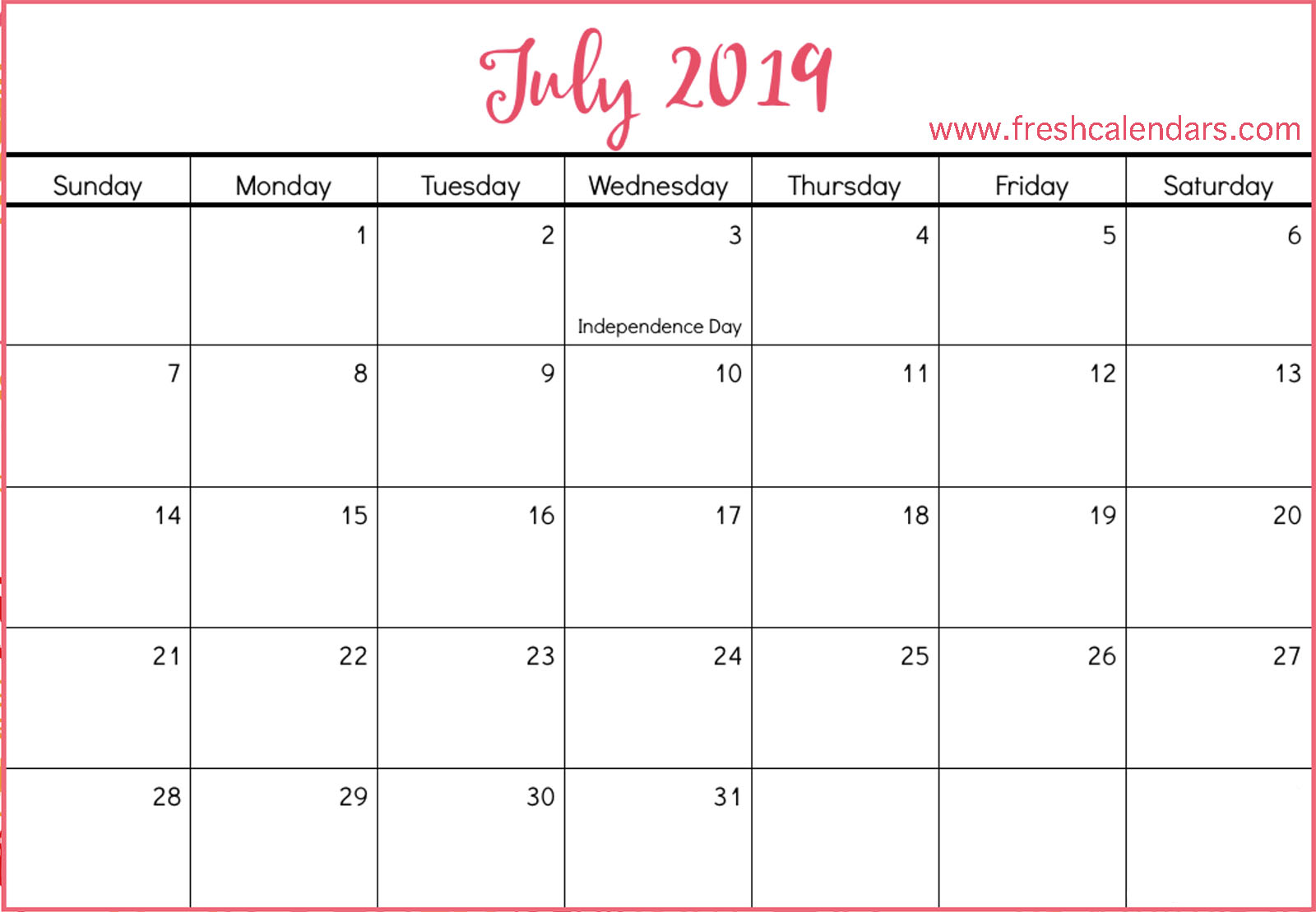July 2019 Calendar Template Word