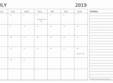July 2019 Calendar Template With Notes