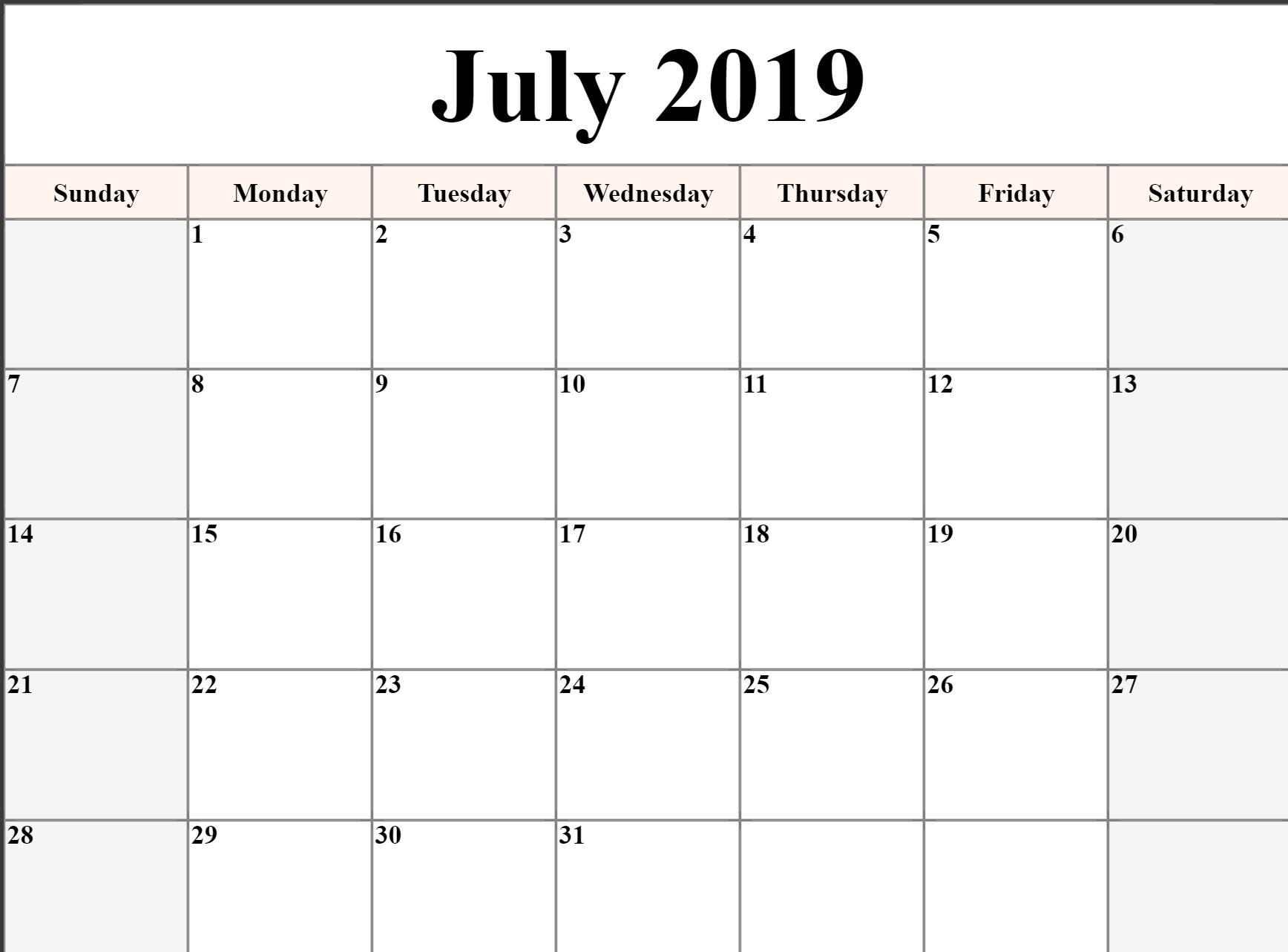 July 2019 Calendar Template