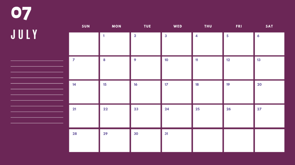 July 2019 Desk Calendar