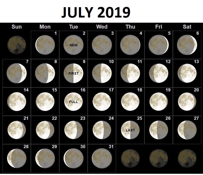 July 2019 Moon Calendar